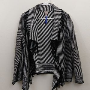 Chico's black & white sweater wrap cardigan